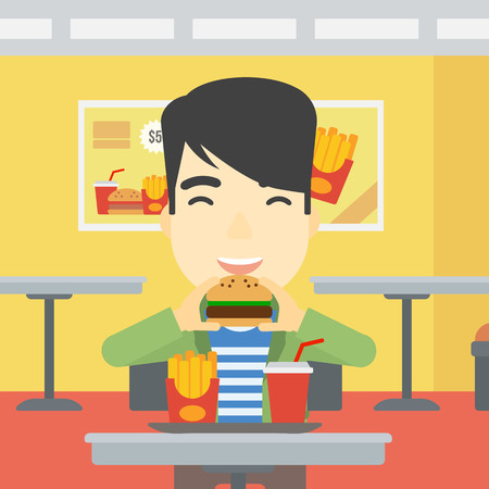 An asian young man eating hamburger. Happy man with eyes closed biting hamburger. Man is about to eat delicious hamburger in the cafe. Vector flat design illustration. Square layout. Ilustração