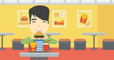 biting: An asian young man eating hamburger. Happy man with eyes closed biting hamburger. Man is about to eat delicious hamburger in the cafe. Vector flat design illustration. Horizontal layout. Illustration