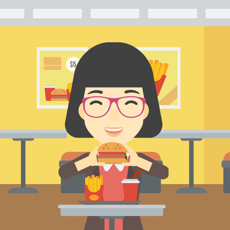 woman eating: An asian young woman eating hamburger. Happy woman with eyes closed craving hamburger. Woman is about to eat delicious hamburger in the cafe. Vector flat design illustration. Square layout.