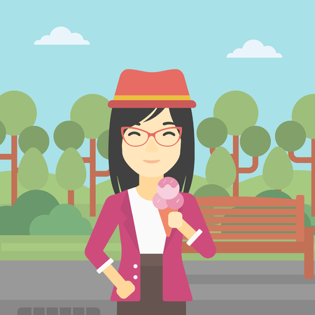 cornet: An asian young woman eating a big ice cream in cone. Happy woman holding an ice cream in hand. Woman enjoying an ice cream at park. Vector flat design illustration. Square layout.