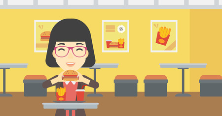 craving: An asian young woman eating hamburger. Happy woman with eyes closed craving hamburger. Woman is about to eat delicious hamburger in the cafe. Vector flat design illustration. Horizontal layout.