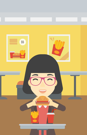 craving: An asian young woman eating hamburger. Happy woman with eyes closed craving hamburger. Woman is about to eat delicious hamburger in the cafe. Vector flat design illustration. Vertical layout.