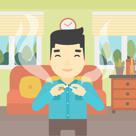 An asian man breaking the cigarette. Man crushing cigarette. Man holding broken cigarette on the background of living room. Quit smoking concept. Vector flat design illustration. Square layout.
