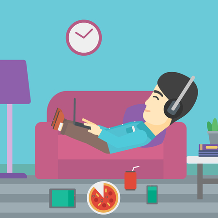 technologic: An asian man with belly relaxing on a sofa with many gadgets. Man lying on a sofa surrounded by gadgets. Man using gadgets at home. Vector flat design illustration. Square layout. Illustration