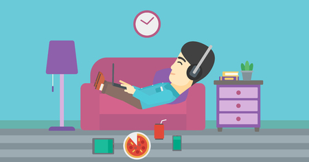 technologic: An asian man with belly relaxing on a sofa with many gadgets. Man lying on a sofa surrounded by gadgets. Man using gadgets at home. Vector flat design illustration. Horizontal layout