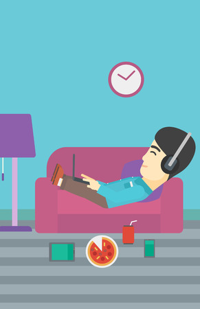 technologic: An asian man with belly relaxing on a sofa with many gadgets. Man lying on a sofa surrounded by gadgets. Man using gadgets at home. Vector flat design illustration. Vertical layout. Illustration