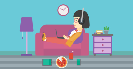 technologic: An asian woman relaxing on a sofa with many gadgets. Woman lying on sofa surrounded by gadgets and fast food. Woman using gadgets at home. Vector flat design illustration. Horizontal layout
