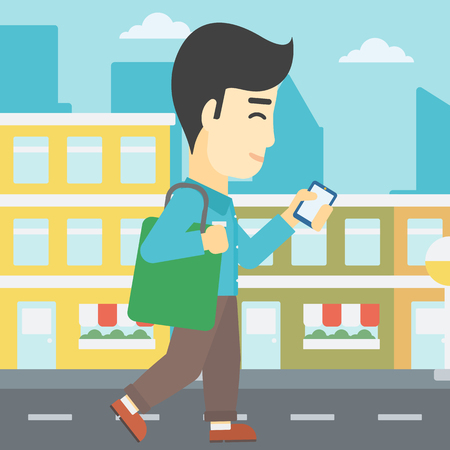 using smartphone: An asian young man walking with smartphone and handbag. Man using smartphone in the city street. Smartphone addiction. Vector flat design illustration. Square layout.
