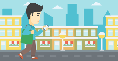 using smart phone: An asian young man walking with smartphone and handbag. Man using smartphone in the city street. Smartphone addiction. Vector flat design illustration. Horizontal layout