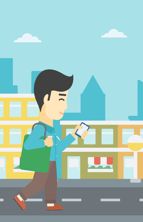 using smart phone: An asian young man walking with smartphone and handbag. Man using smartphone in the city street. Smartphone addiction. Vector flat design illustration. Vertical layout.
