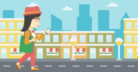 smartphone addiction: An asian young woman walking with smartphone and handbag. Woman using smartphone in the city street. Smartphone addiction. Vector flat design illustration. Horizontal layout