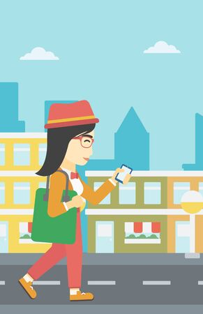 smartphone addiction: An asian young woman walking with smartphone and handbag. Woman using smartphone in the city street. Smartphone addiction. Vector flat design illustration. Vertical layout. Illustration