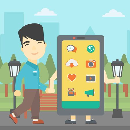 smartphone addiction: An asian young man walking with a big smartphone. Man and big smartphone in the park. Man holding the hand of smartphone. Smartphone addiction. Vector flat design illustration. Square layout. Illustration