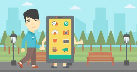smartphone addiction: An asian young man walking with a big smartphone. Man and big smartphone in the park. Man holding the hand of smartphone. Smartphone addiction. Vector flat design illustration. Horizontal layout Illustration