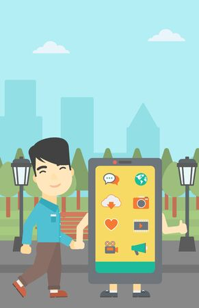 smartphone addiction: An asian young man walking with a big smartphone. Man and big smartphone in the park. Man holding the hand of smartphone. Smartphone addiction. Vector flat design illustration. Vertical layout.