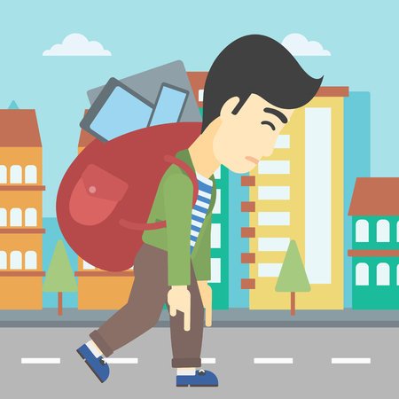 electronic devices: An asian young man walking with backpack full of different devices. Man walking with many devices in the city. Man with many electronic devices. Vector flat design illustration. Square layout. Illustration