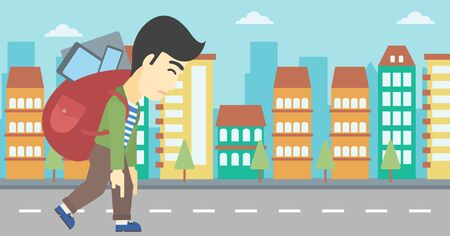 city man: An asian young man walking with backpack full of different devices. Man walking with many devices in the city. Man with many electronic devices. Vector flat design illustration. Horizontal layout