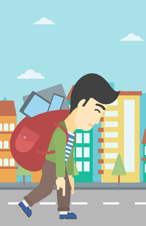 media gadget: An asian young man walking with backpack full of different devices. Man walking with many devices in the city. Man with many electronic devices. Vector flat design illustration. Vertical layout.