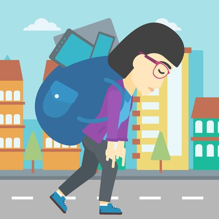 electronic devices: An asian young woman walking with backpack full of different devices. Woman walking with many electronic devices in the city street. Vector flat design illustration. Square layout. Illustration