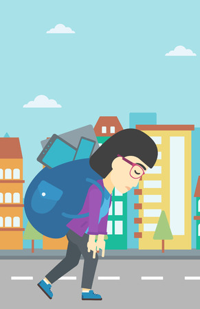 electronic devices: An asian young woman walking with backpack full of different devices. Woman walking with many electronic devices in the city street. Vector flat design illustration. Vertical layout. Illustration