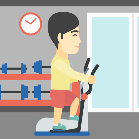 man working out: An asian young man exercising on elliptical trainer. Man working out using elliptical trainer at the gym. Man using elliptical trainer. Vector flat design illustration. Square layout.