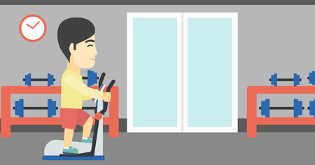 man working out: An asian young man exercising on elliptical trainer. Man working out using elliptical trainer at the gym. Man using elliptical trainer. Vector flat design illustration. Horizontal layout