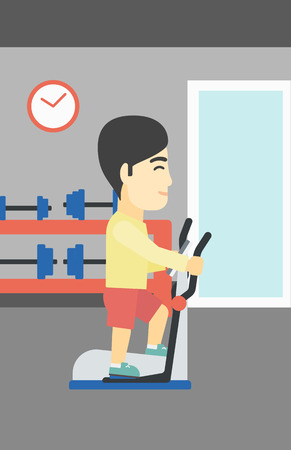 man working out: An asian young man exercising on elliptical trainer. Man working out using elliptical trainer at the gym. Man using elliptical trainer. Vector flat design illustration. Vertical layout.