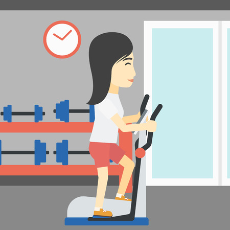 elliptical: An asian young woman exercising on elliptical trainer. Woman working out using elliptical trainer at the gym. Woman using elliptical trainer. Vector flat design illustration. Square layout.