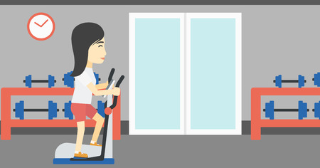 An asian young woman exercising on elliptical trainer. Woman working out using elliptical trainer at the gym. Woman using elliptical trainer. Vector flat design illustration. Horizontal layout
