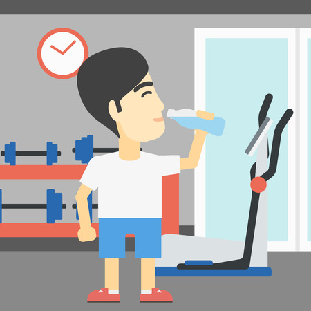 man drinking water: An asian young man drinking water. Sportive man with bottle of water in the gym. Sportsman drinking water from the bottle. Vector flat design illustration. Square layout. Illustration