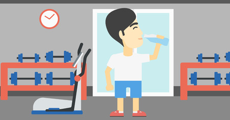 An asian young man drinking water. Sportive man with bottle of water in the gym. Sportsman drinking water from the bottle. Vector flat design illustration. Horizontal layout