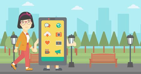 smartphone addiction: An asian young woman walking with a big smartphone. Woman and big smartphone in the park. Woman holding the hand of smartphone. Smartphone addiction. Vector flat design illustration. Horizontal layout Illustration