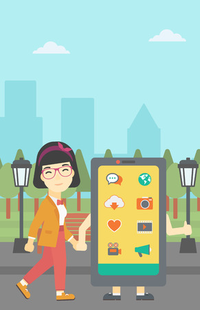 smartphone addiction: An asian young woman walking with a big smartphone. Woman and big smartphone in the park. Woman holding the hand of smartphone. Smartphone addiction. Vector flat design illustration. Vertical layout. Illustration
