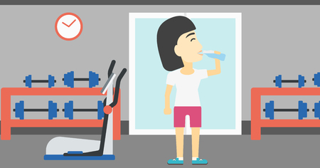 sportive: An asian young woman drinking water. Sportive woman with bottle of water in the gym. Young sports woman drinking water from the bottle. Vector flat design illustration. Horizontal layout