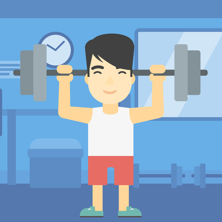 heavy weight: An asian young man lifting a heavy weight barbell. Strong sportsman doing exercise with barbell in the gym. Male weightlifter holding a barbell. Vector flat design illustration. Square layout. Illustration