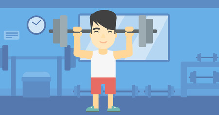 heavy weight: An asian young man lifting a heavy weight barbell. Strong sportsman doing exercise with barbell in the gym. Male weightlifter holding a barbell. Vector flat design illustration. Horizontal layout