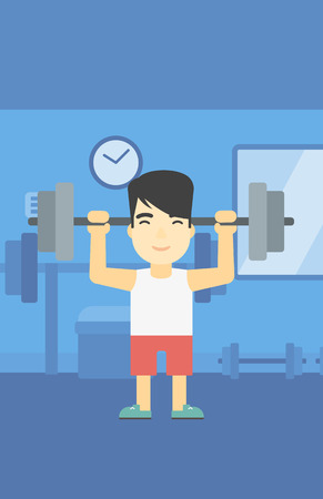 heavy weight: An asian young man lifting a heavy weight barbell. Strong sportsman doing exercise with barbell in the gym. Male weightlifter holding a barbell. Vector flat design illustration. Vertical layout.