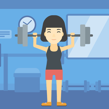 heavy weight: An asian young woman lifting a heavy weight barbell. Sports woman doing exercise with barbell in the gym. Female weightlifter holding a barbell. Vector flat design illustration. Square layout.