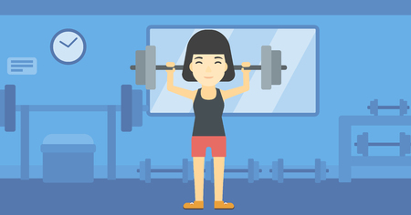 heavy weight: An asian young woman lifting a heavy weight barbell. Sports woman doing exercise with barbell in the gym. Female weightlifter holding a barbell. Vector flat design illustration. Horizontal layout