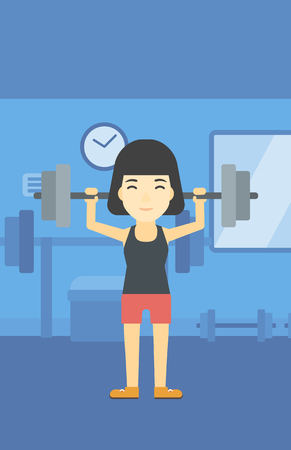 heavy weight: An asian young woman lifting a heavy weight barbell. Sports woman doing exercise with barbell in the gym. Female weightlifter holding a barbell. Vector flat design illustration. Vertical layout.