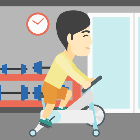 stationary bicycle: An asian young man riding stationary bicycle. Sporty man exercising on stationary training bicycle in the gym. Man training on exercise bike. Vector flat design illustration. Square layout. Illustration