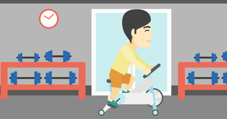 stationary bicycle: An asian young man riding stationary bicycle. Sporty man exercising on stationary training bicycle in the gym. Man training on exercise bike. Vector flat design illustration. Horizontal layout