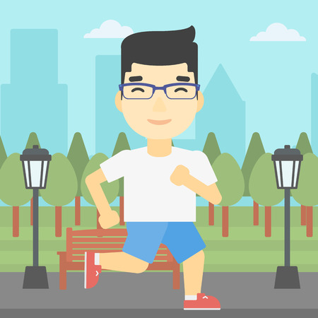 jogging in park: An asian young man running. Male runner jogging outdoors. Sportsman running in the park. Running man on forest road. Vector flat design illustration. Square layout. Illustration