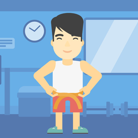 An asian young man measuring his waistline with a tape in the gym. Man measuring with tape the abdomen. Man with centimeter on a waist. Vector flat design illustration. Square layout.