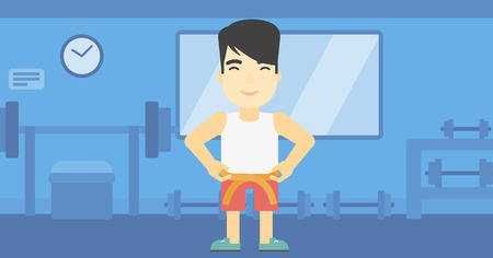 waistline: An asian young man measuring his waistline with a tape in the gym. Man measuring with tape the abdomen. Man with centimeter on a waist. Vector flat design illustration. Horizontal layout Illustration