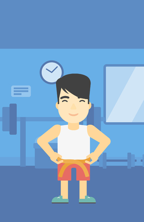 An asian young man measuring his waistline with a tape in the gym. Man measuring with tape the abdomen. Man with centimeter on a waist. Vector flat design illustration. Vertical layout.