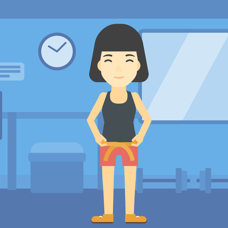 square tape: An asian young woman measuring his waistline with a tape in the gym. Woman measuring with tape the abdomen. Woman with centimeter on a waist. Vector flat design illustration. Square layout.