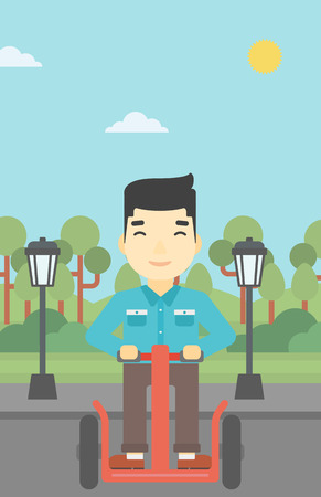 An asian young man driving electric scooter. Man on self-balancing electric scooter with two wheels. Man on electric scooter in the park. Vector flat design illustration. Vertical layout.