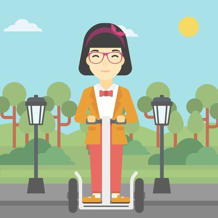woman driving: An asian young woman driving electric scooter. Woman on self-balancing electric scooter with two wheels. Woman on electric scooter in the park. Vector flat design illustration. Square layout.