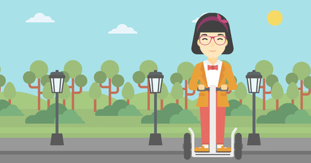 woman driving: An asian young woman driving electric scooter. Woman on self-balancing electric scooter with two wheels. Woman on electric scooter in the park. Vector flat design illustration. Horizontal layout Illustration